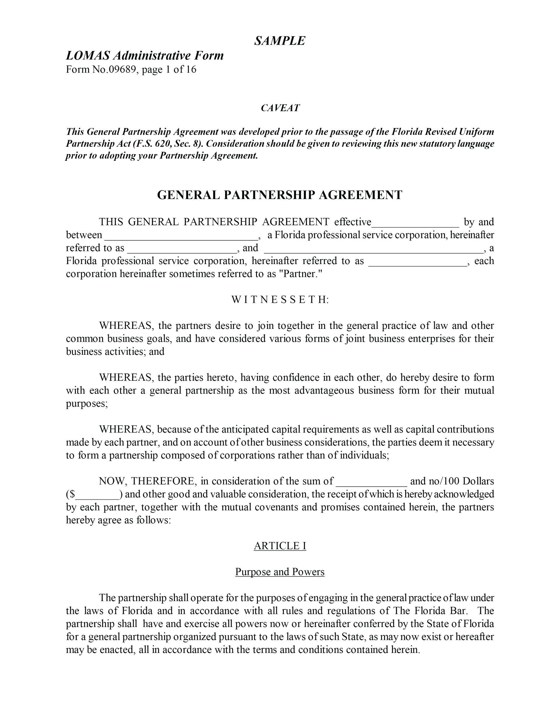Limited Partnership Agreement Template Texas