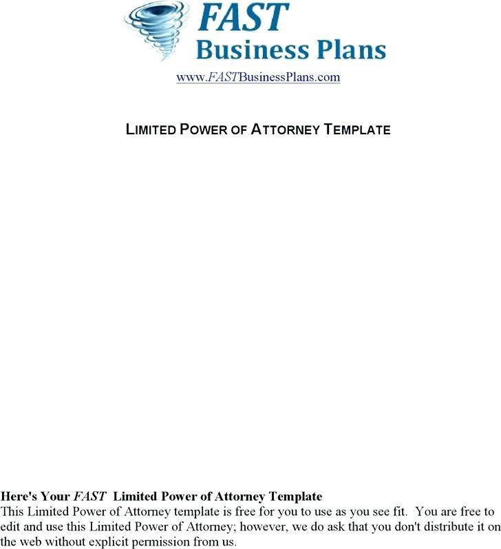 Limited Power Of Attorney Texas Template