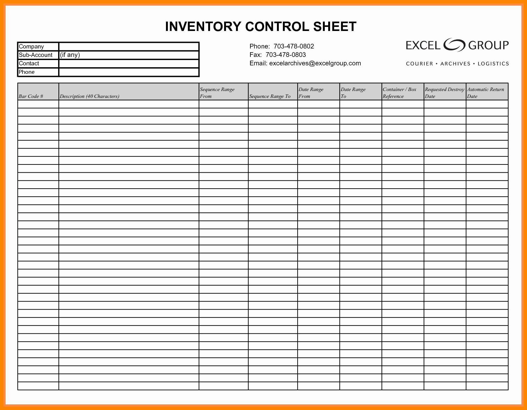 Liquor Inventory Control Sheet Template