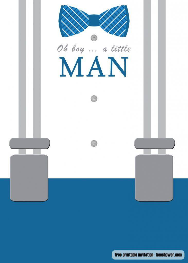 Little Man Baby Shower Invitation Template Free