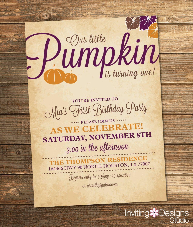 Little Pumpkin Birthday Invitation Template
