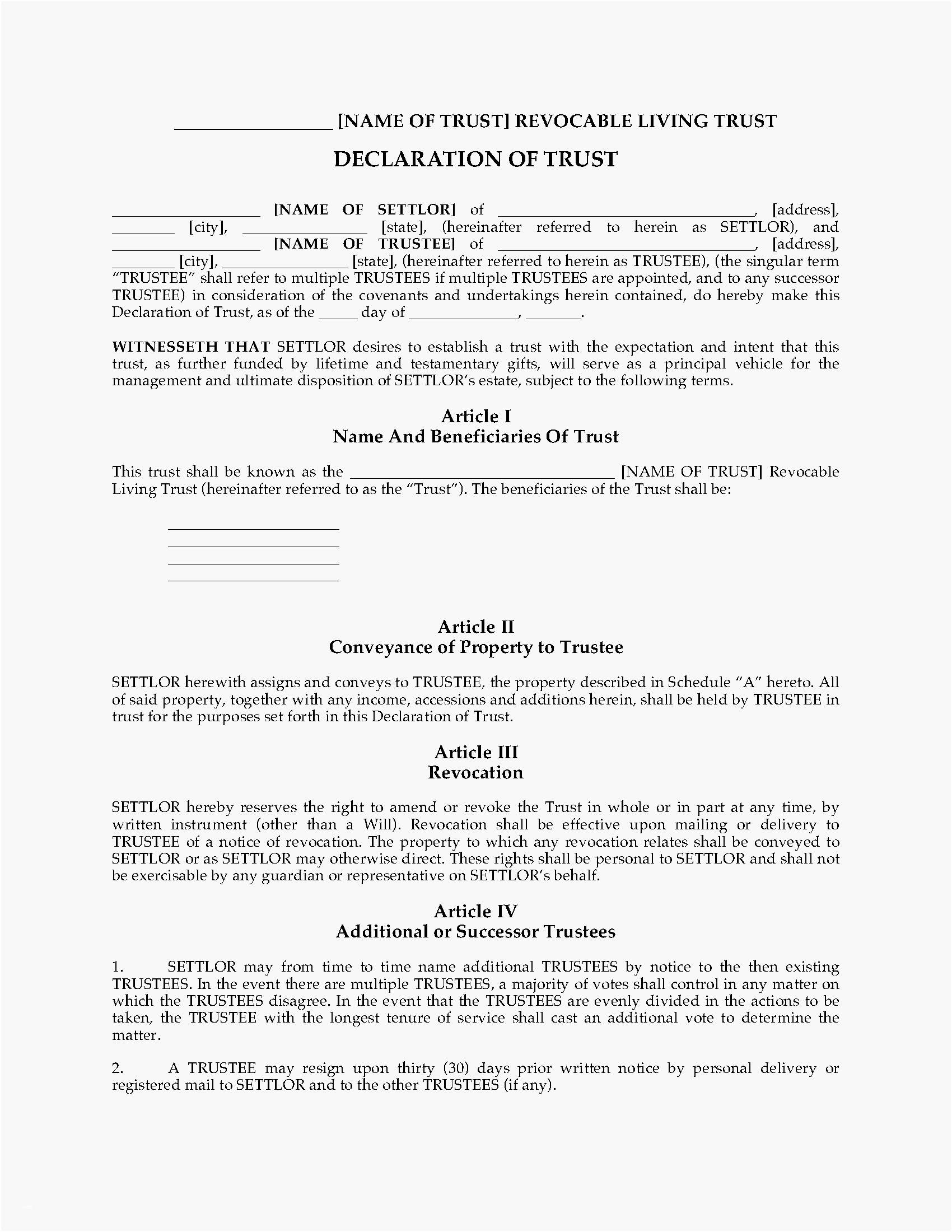Living Revocable Trust Template