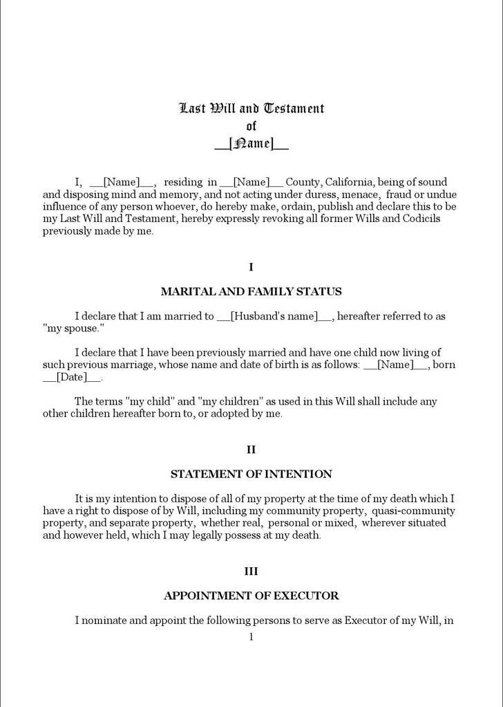 Living Will And Testament Template