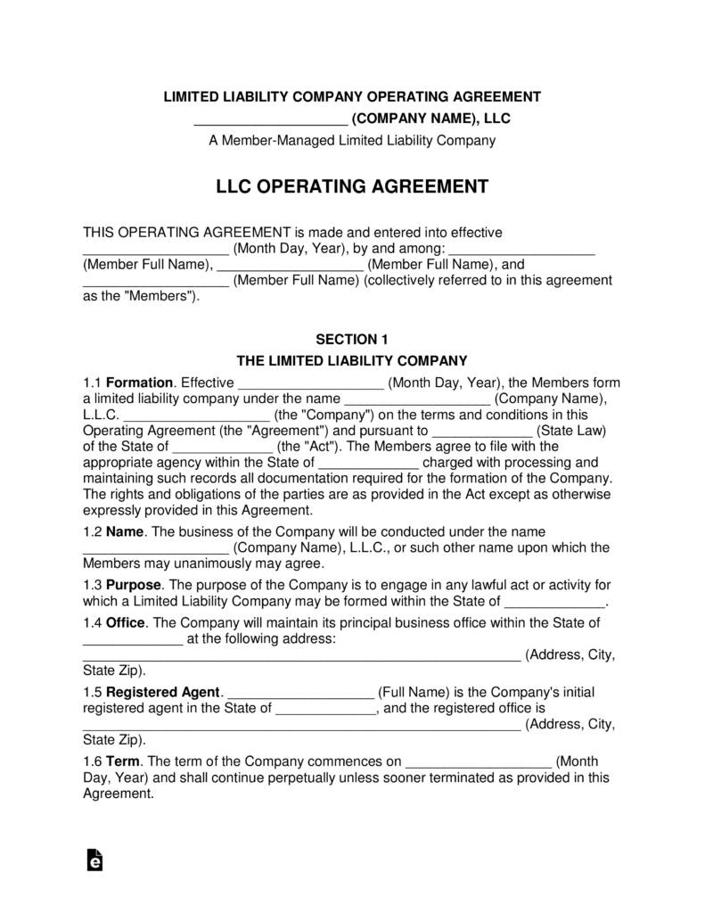 Llc Agreement Template