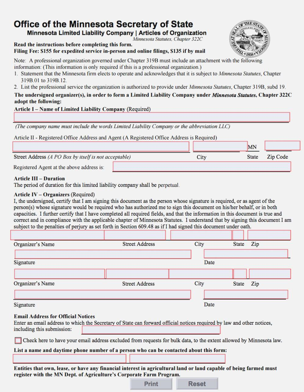 Llc Articles Of Organization Form