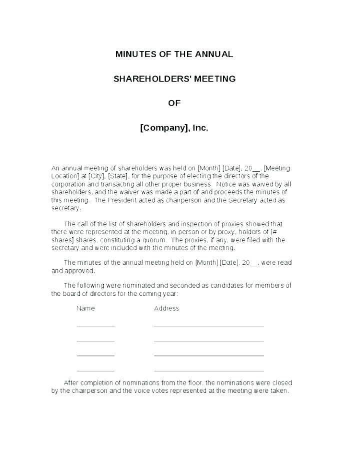 Llc Manager Meeting Minutes Template