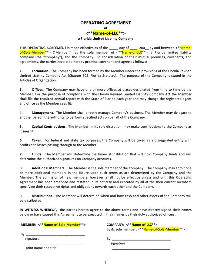 Llc Operating Agreement Template Florida