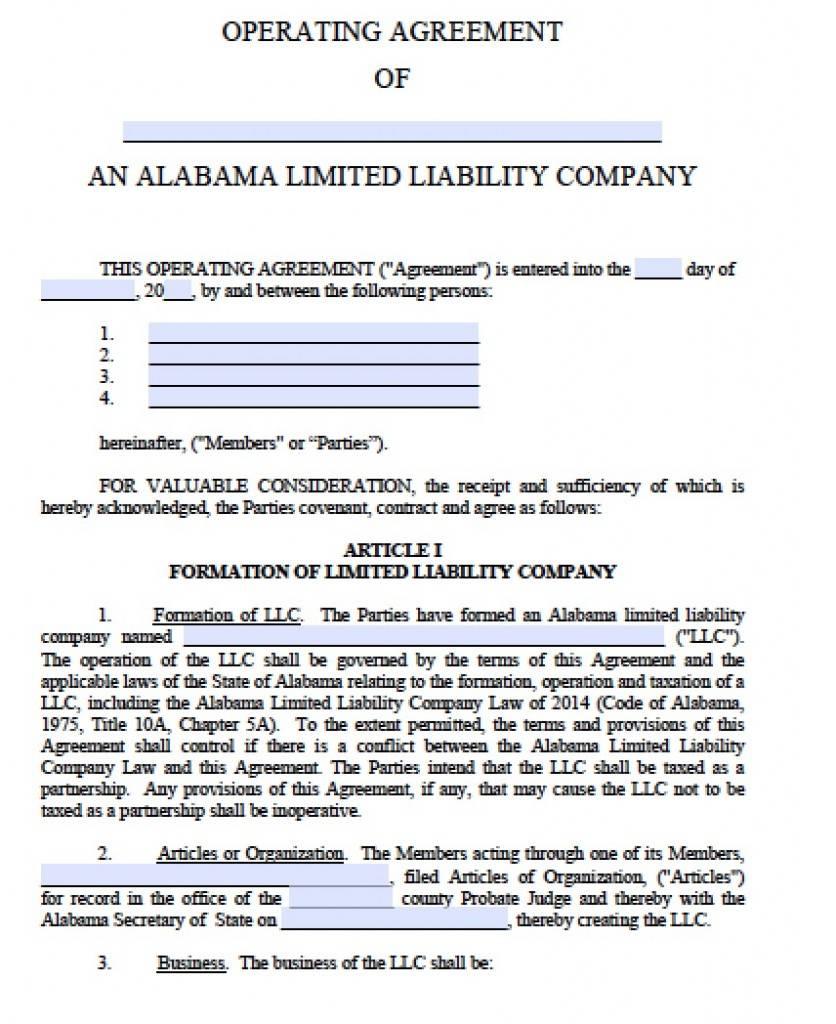 Llc Operating Agreement Template Pdf Free