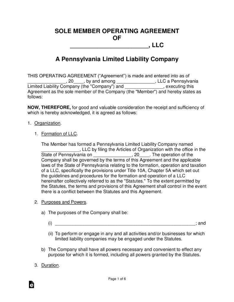 Llc Operating Agreement Template Pennsylvania