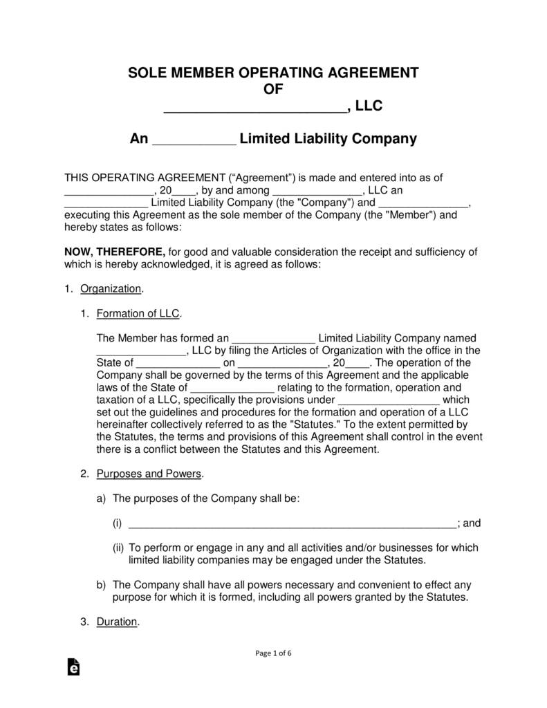 Llc Operating Agreement Template Single Member
