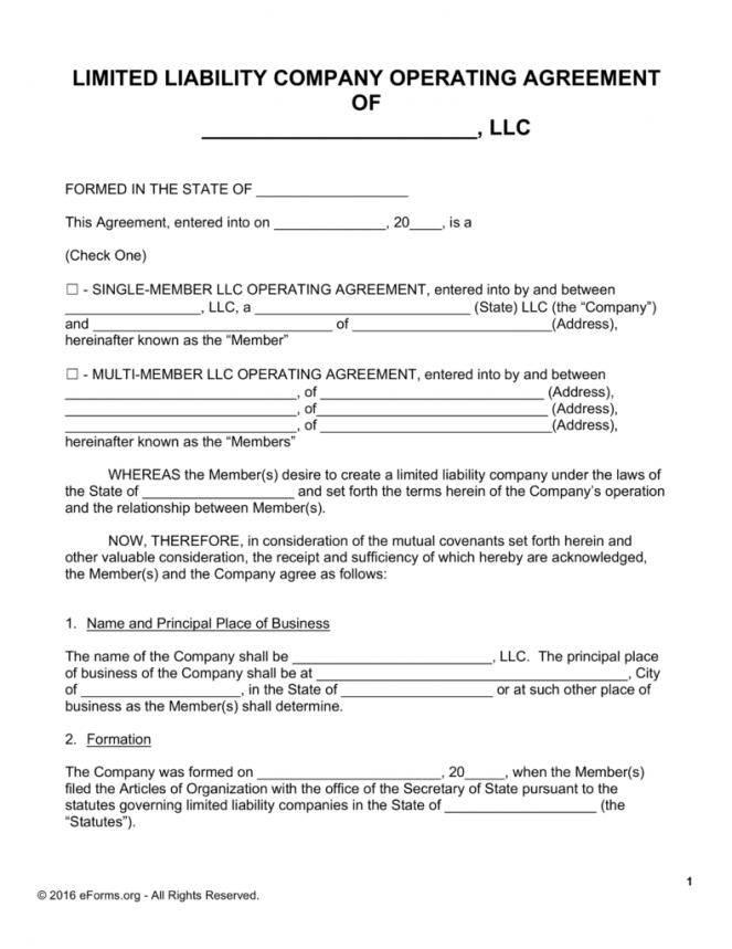 Llc Partnership Operating Agreement Template