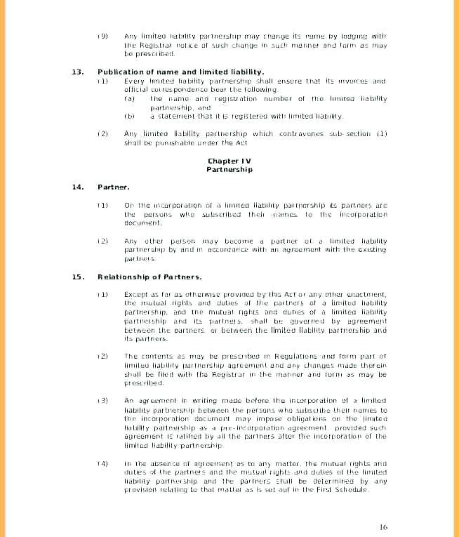 Llp Agreement Template Uk Free