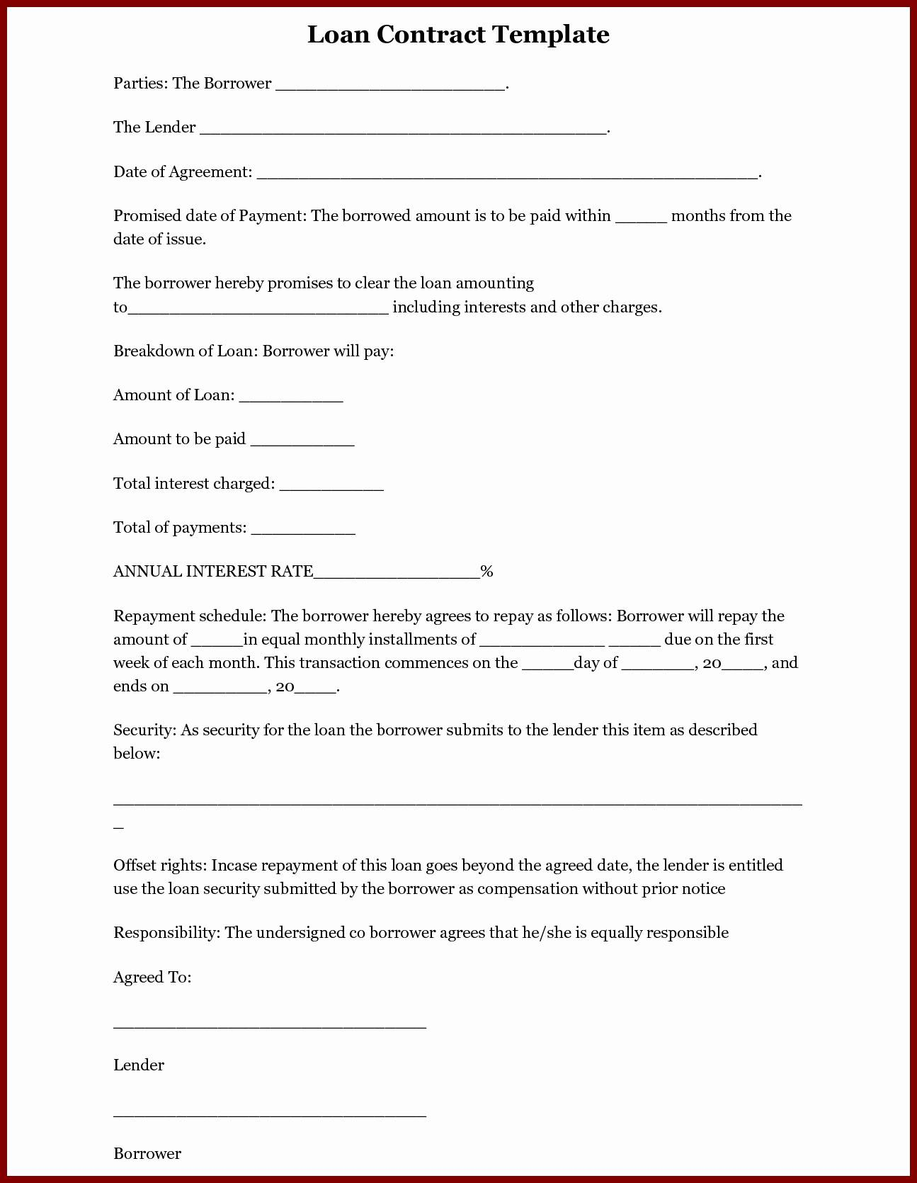 Loan Agreement Contract Example