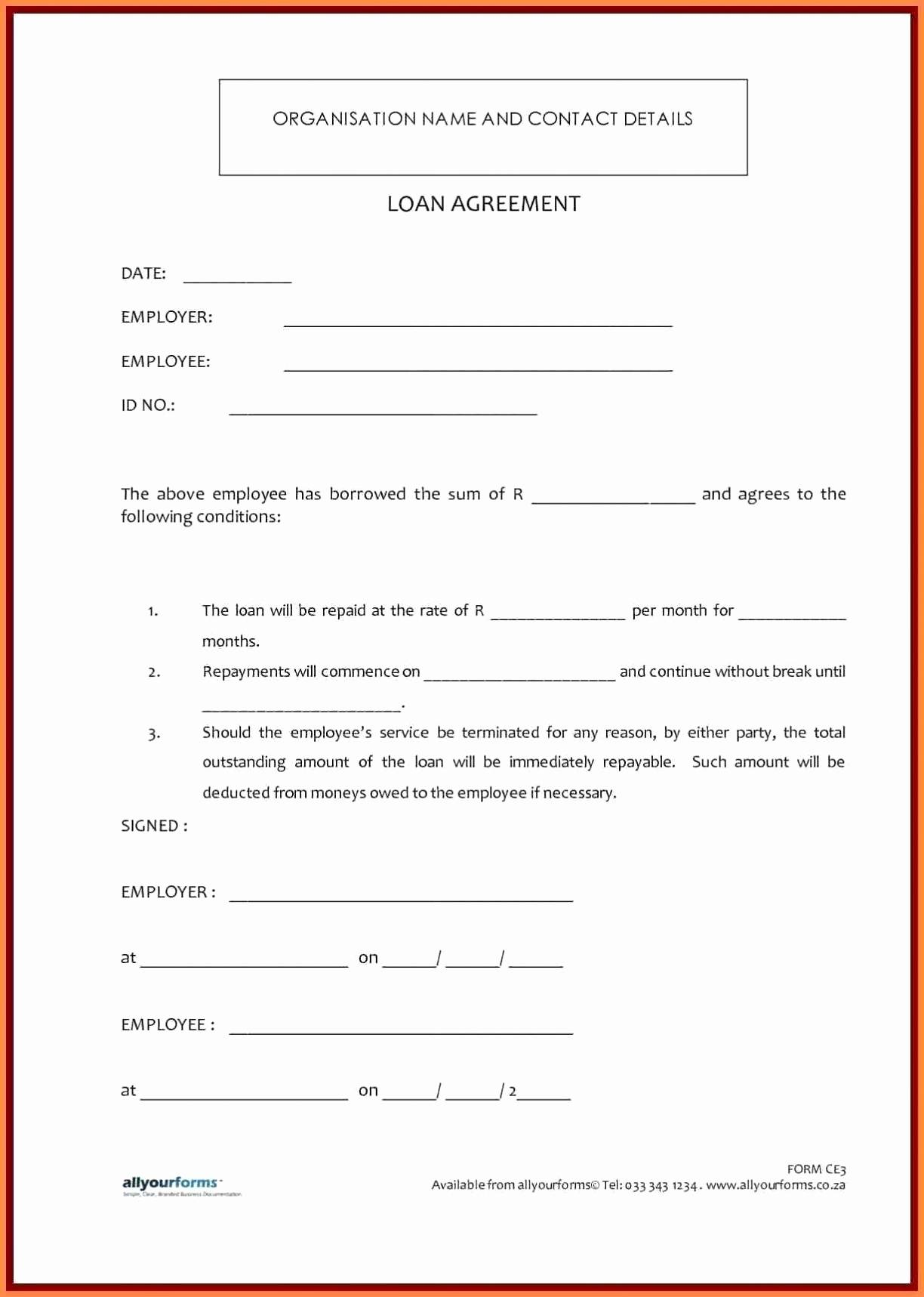 Loan Agreement Contract Form