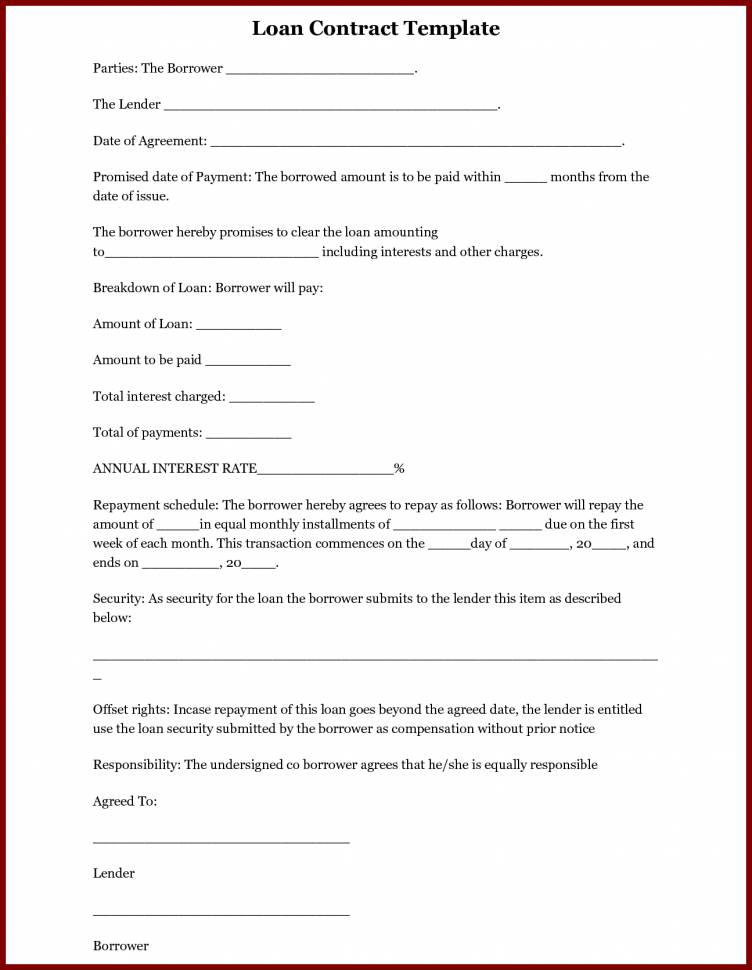 Loan Agreement Template Nz