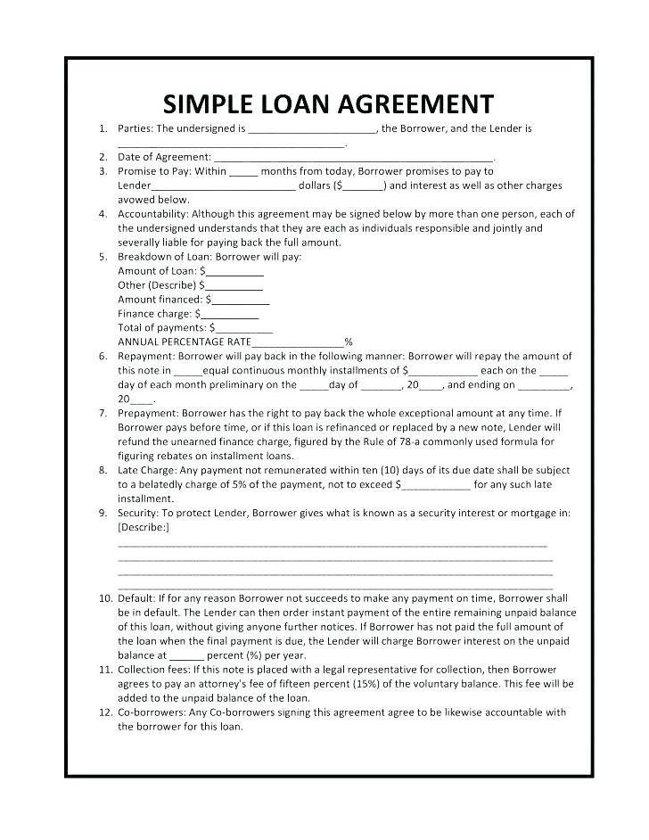 Loan Agreement Template Qld