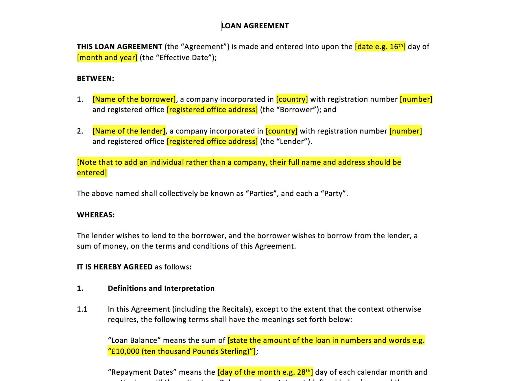 Loan Agreement Template Uk
