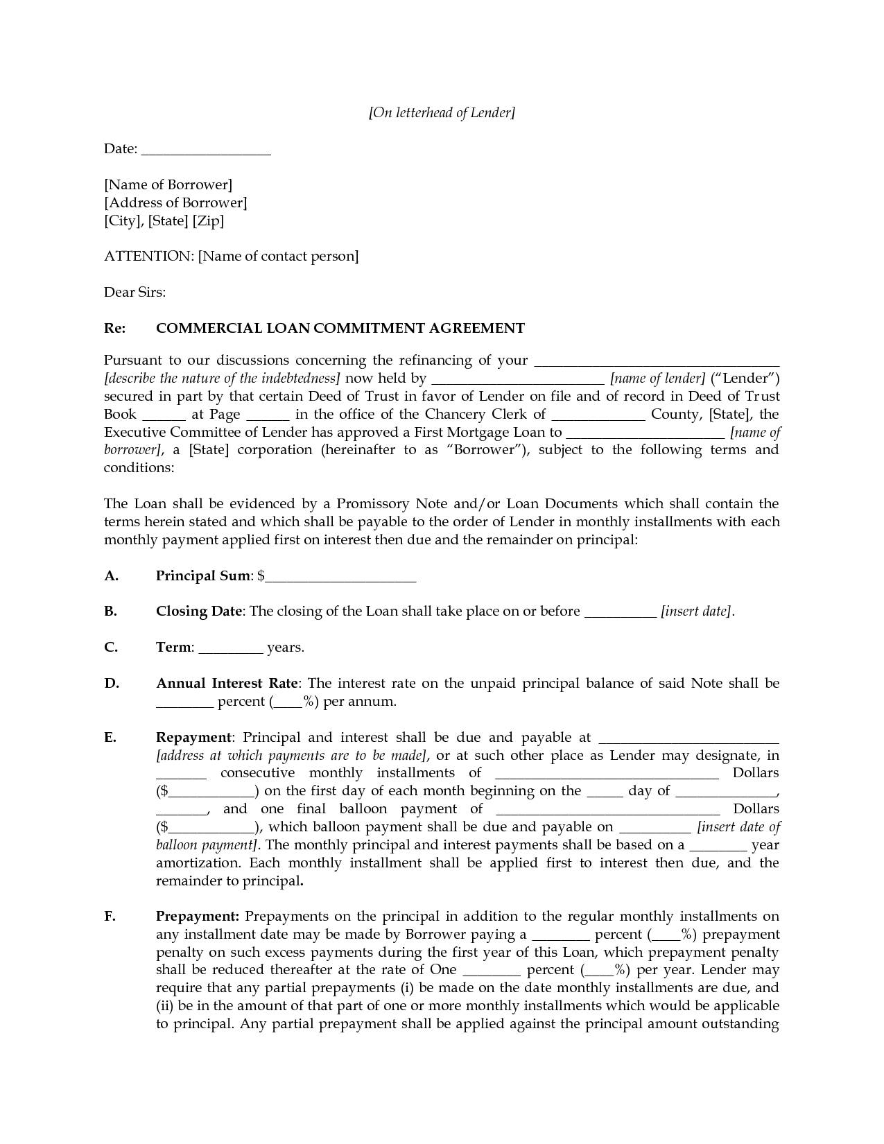 Loan Commitment Letter Template