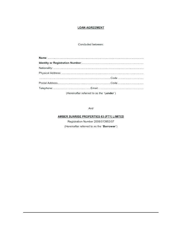 Loan Contract Template Australia Free