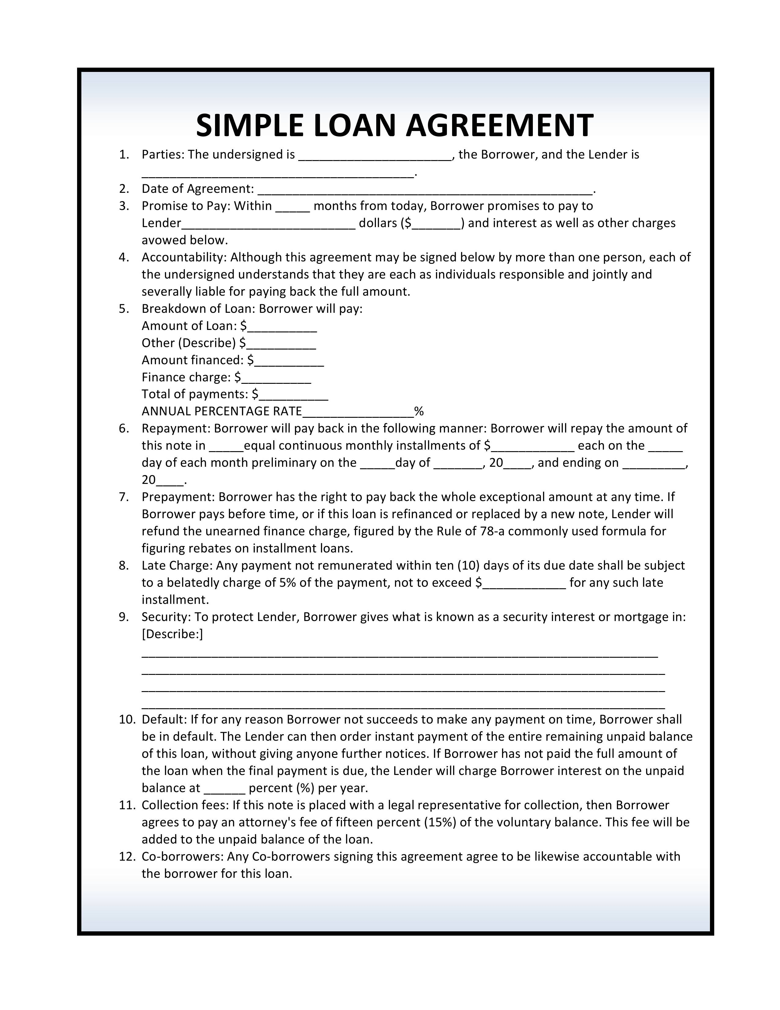 Loan Contract Template Free Download