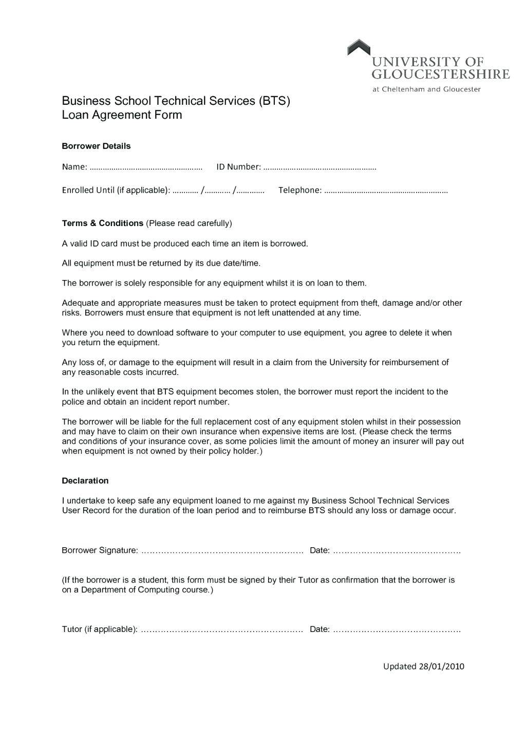 Loan Contract Template With Collateral