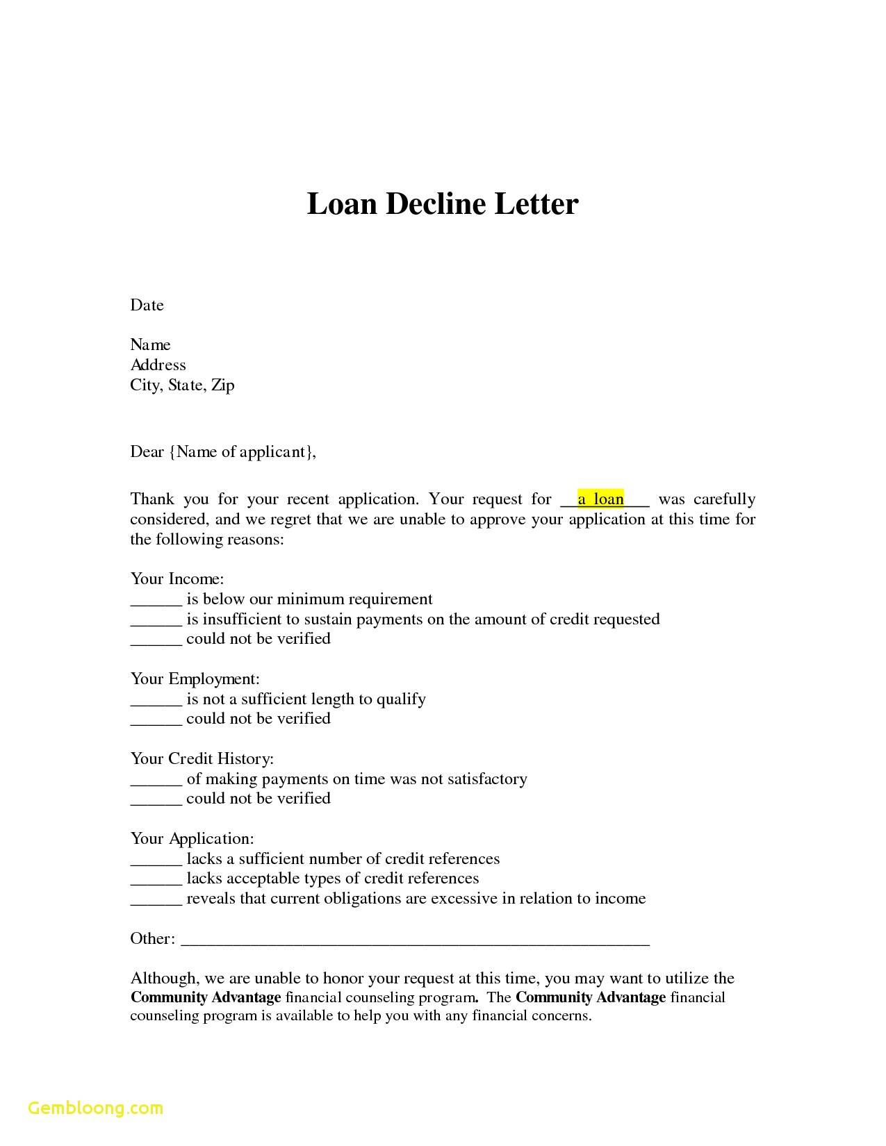 Loan Denial Letter Template