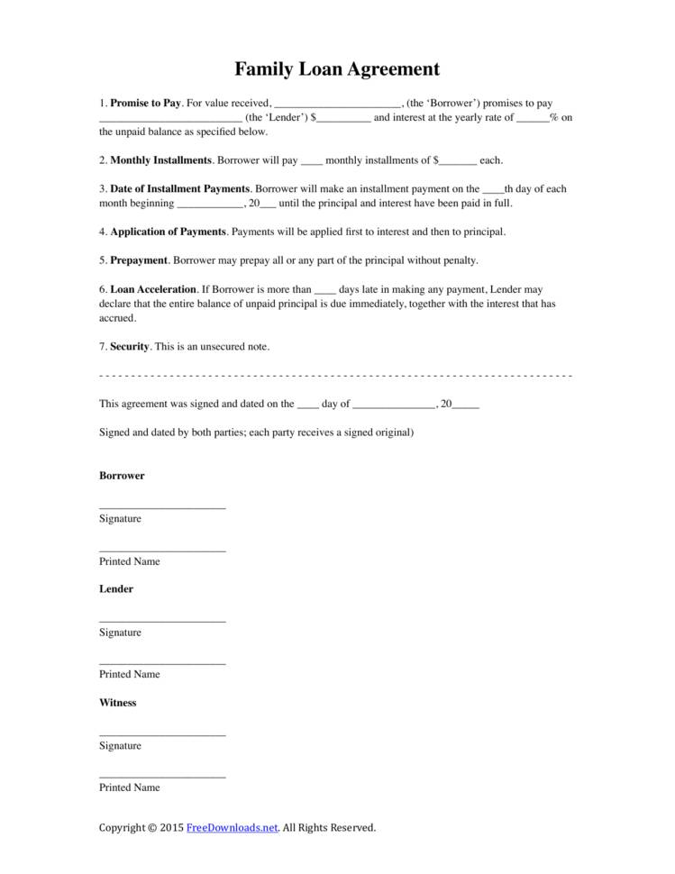 Loan Document Template Family