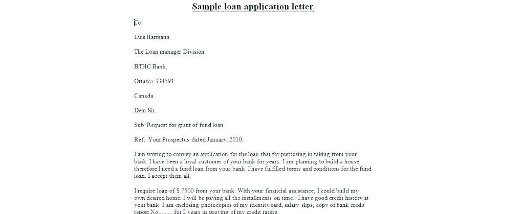 Loan Letter Sample Person To Company