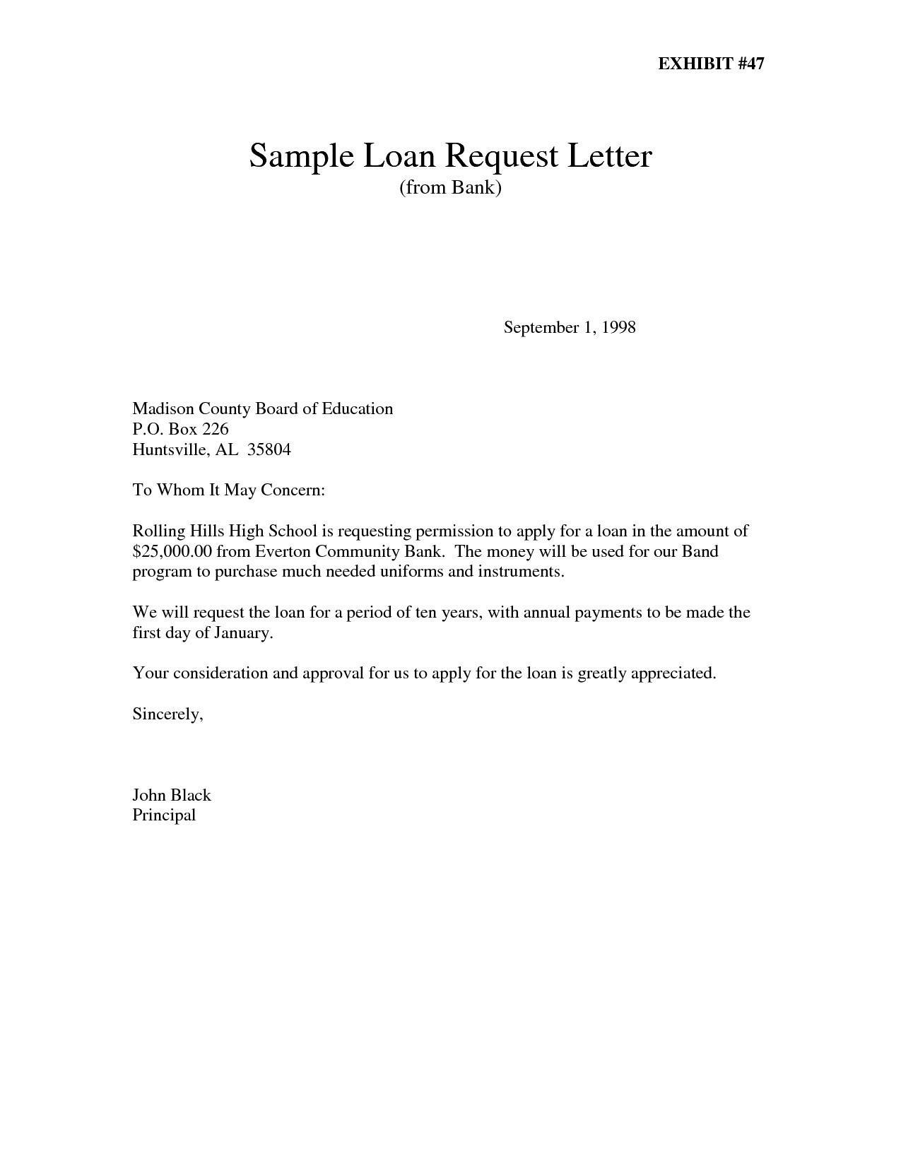 Loan Letter Sample To Bank