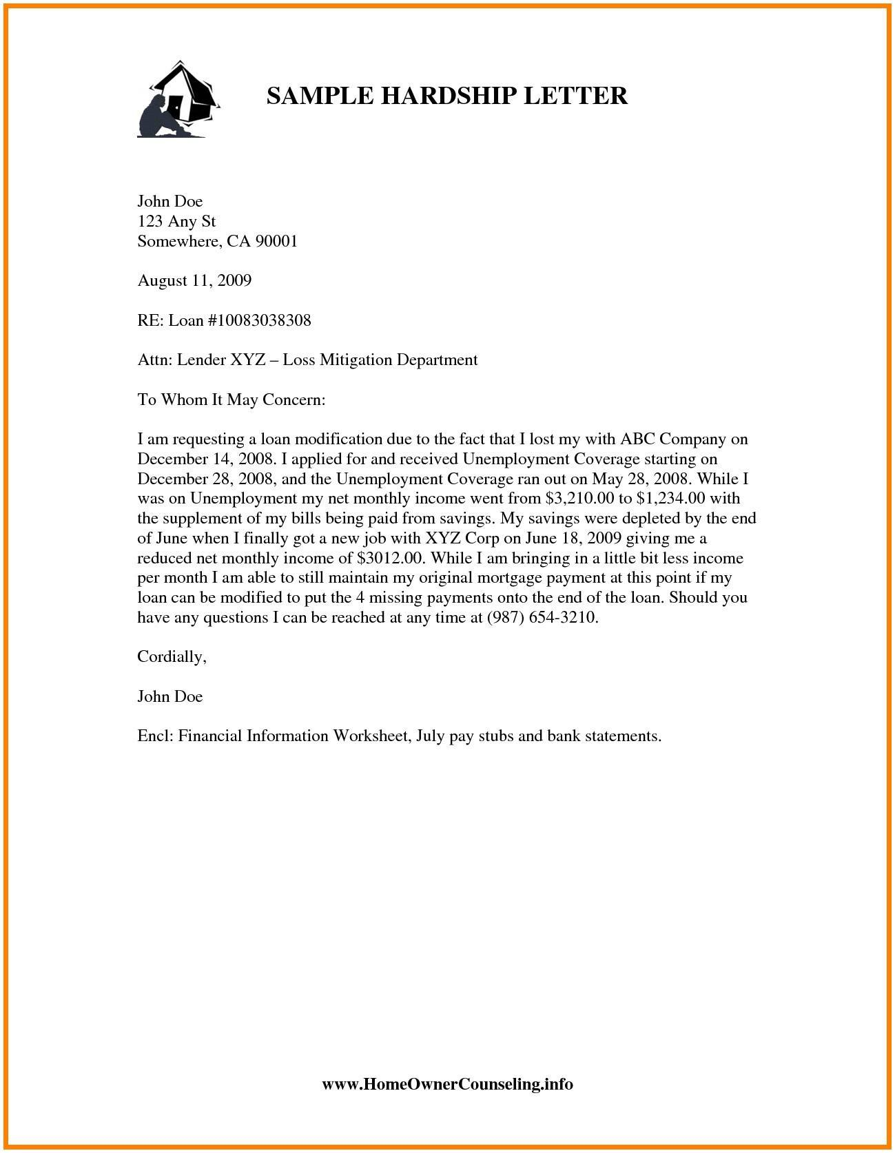 Loan Modification Hardship Letter Template