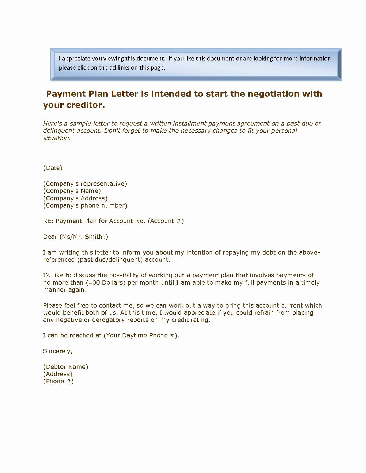 Loan Payment Agreement Letter Template