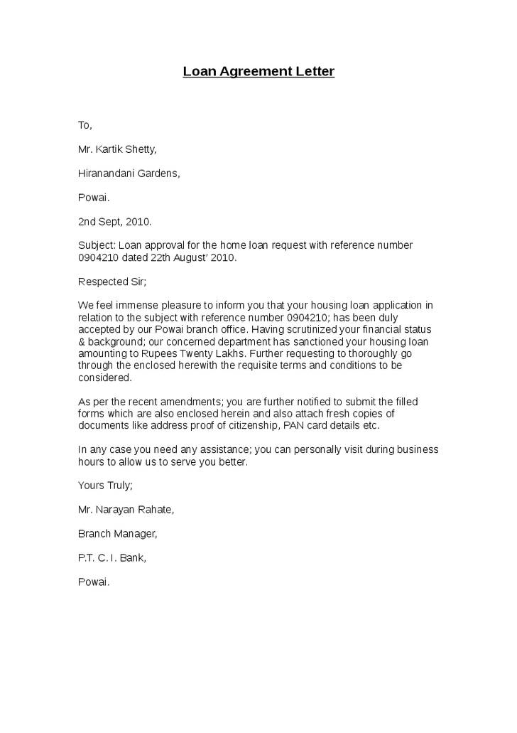 Loan Payment Agreement Letter