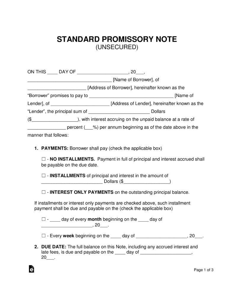 Loan Promissory Note Template