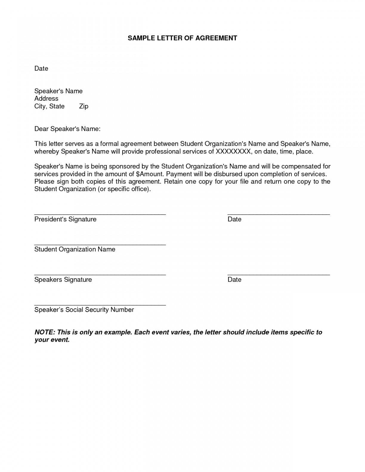 Loan Repayment Agreement Letter
