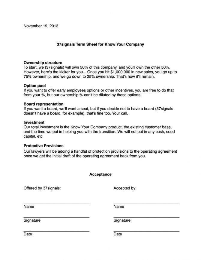 Loan Term Sheet Example