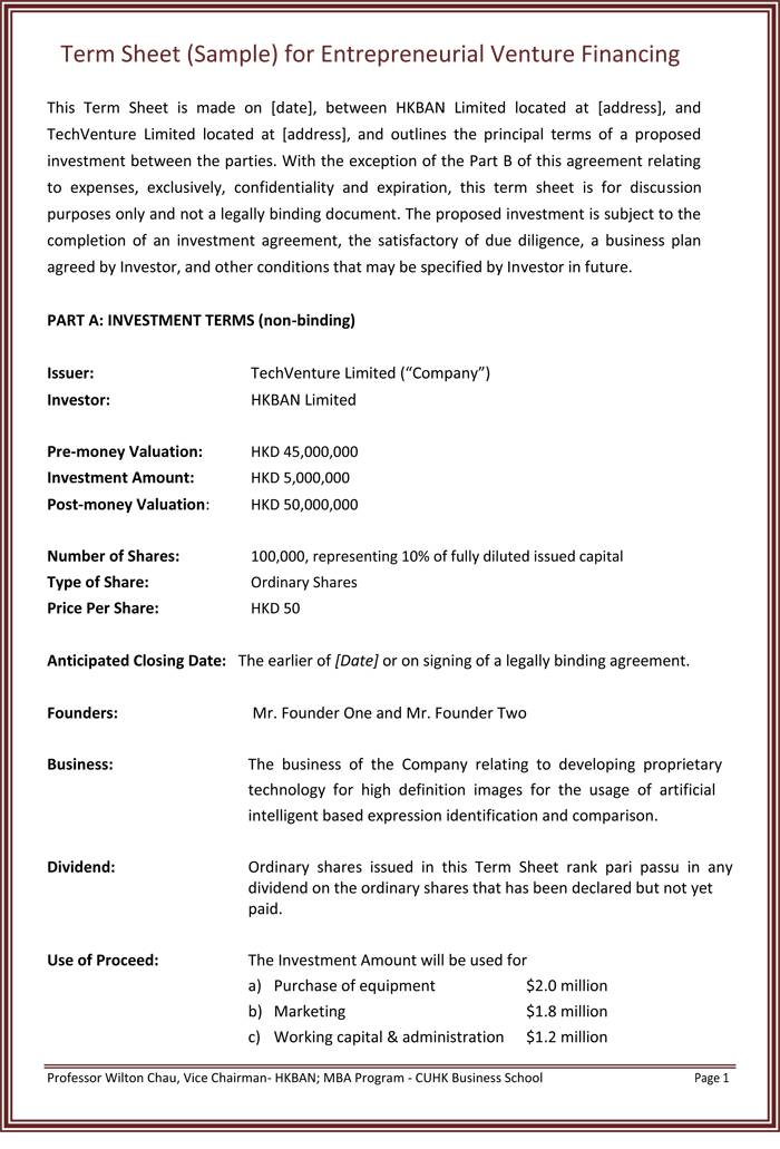 Loan Term Sheet Template