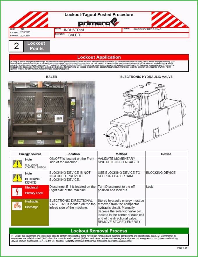 Lockout Tagout Posted Procedure Template