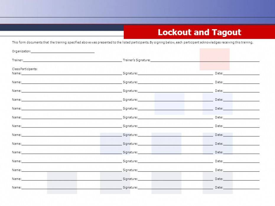 Lockout Tagout Procedure Template Free