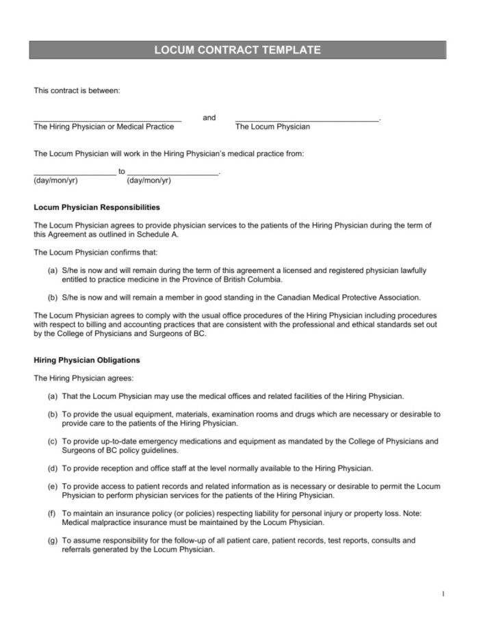 Locum Dentist Contract Template