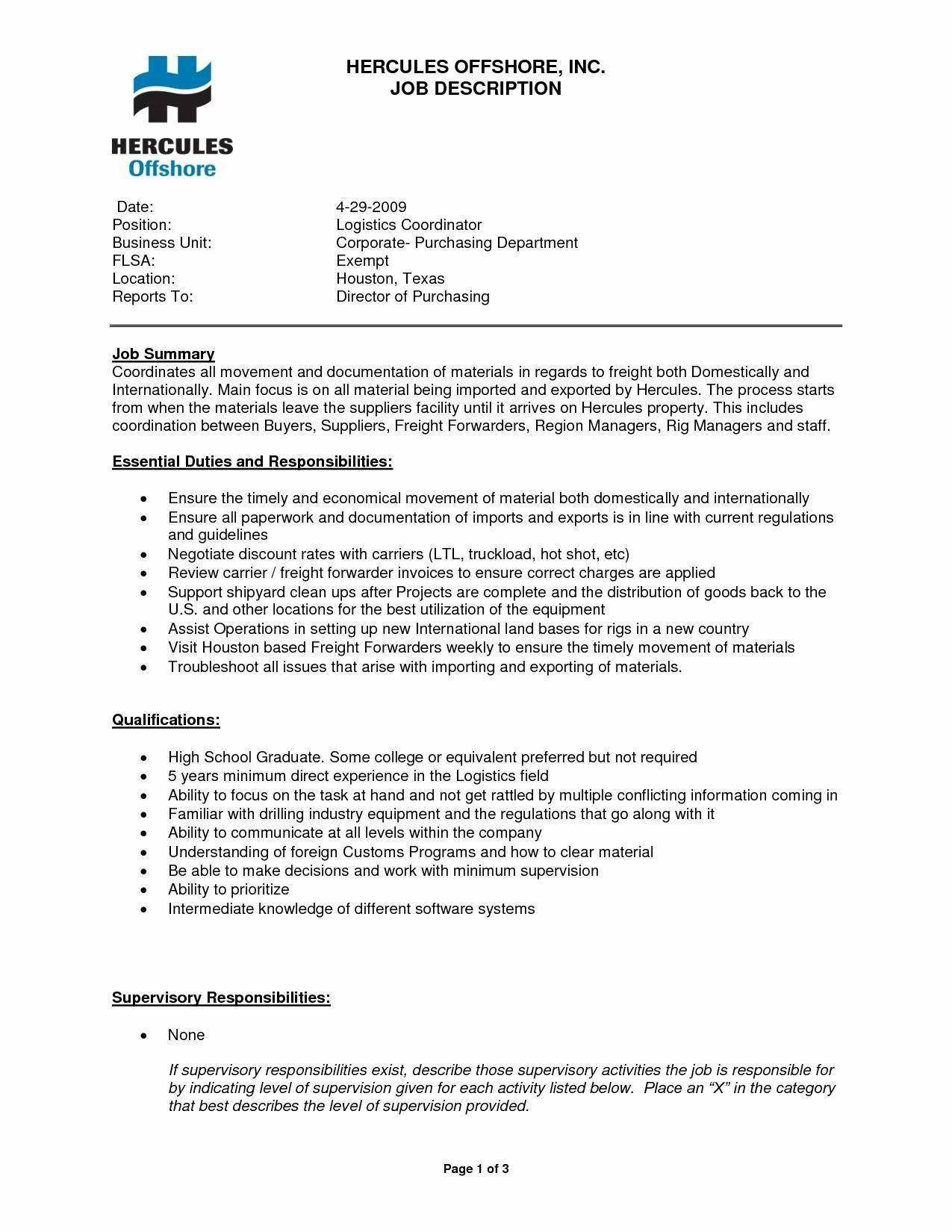 Logistics Job Description Resume