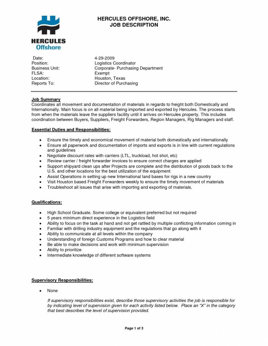 Logistics Job Description Template