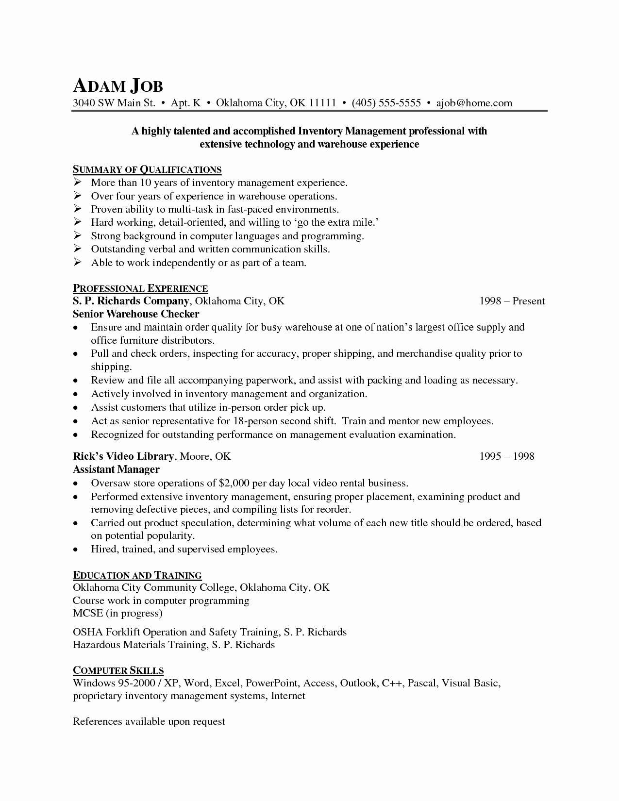 Logistics Manager Job Description Resume Sample