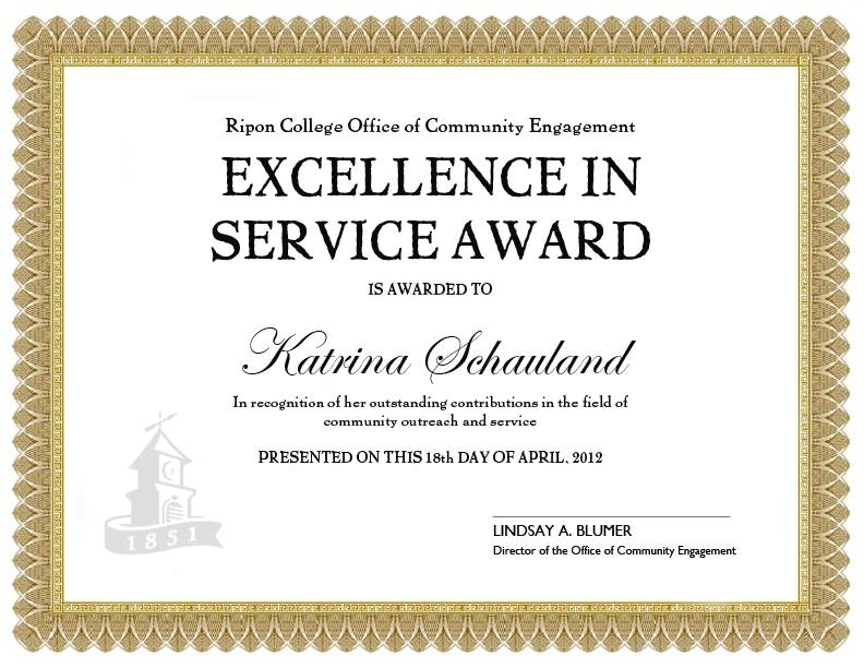 Long Service Award Certificate Template 2010