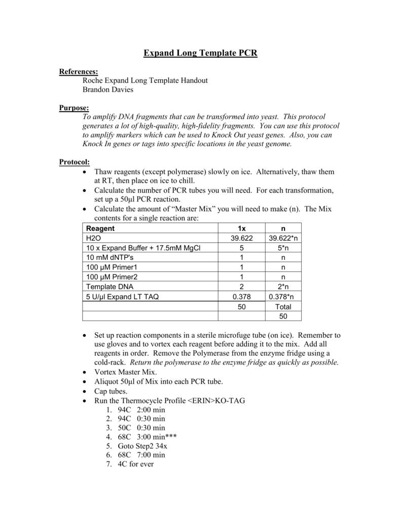 Long Template Pcr Protocol