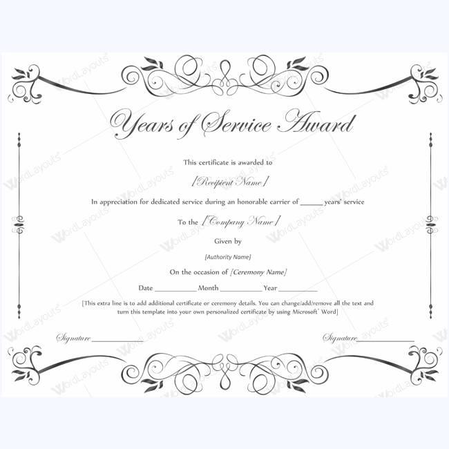 Long Term Service Award Certificate Template
