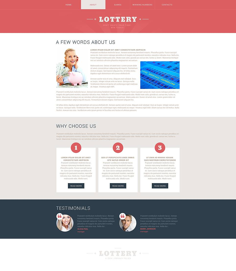 Lottery Website Template Free