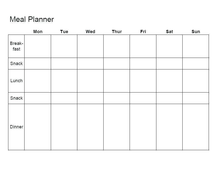 Lunch Menu Calendar Template
