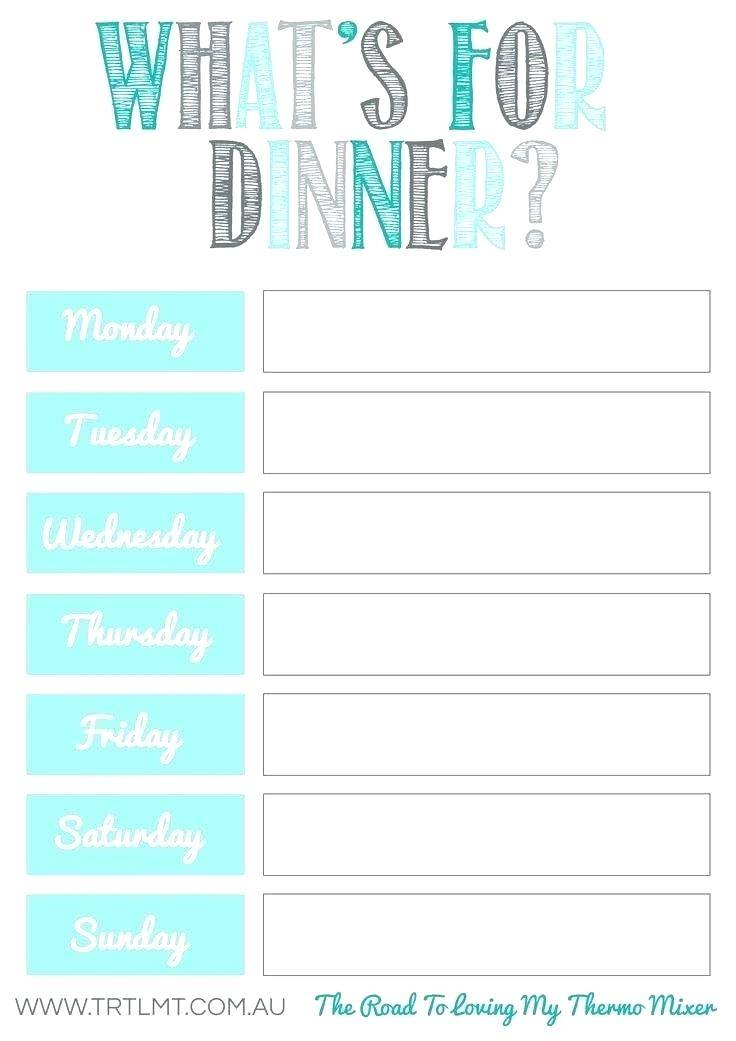 Lunch Menu Template For Home