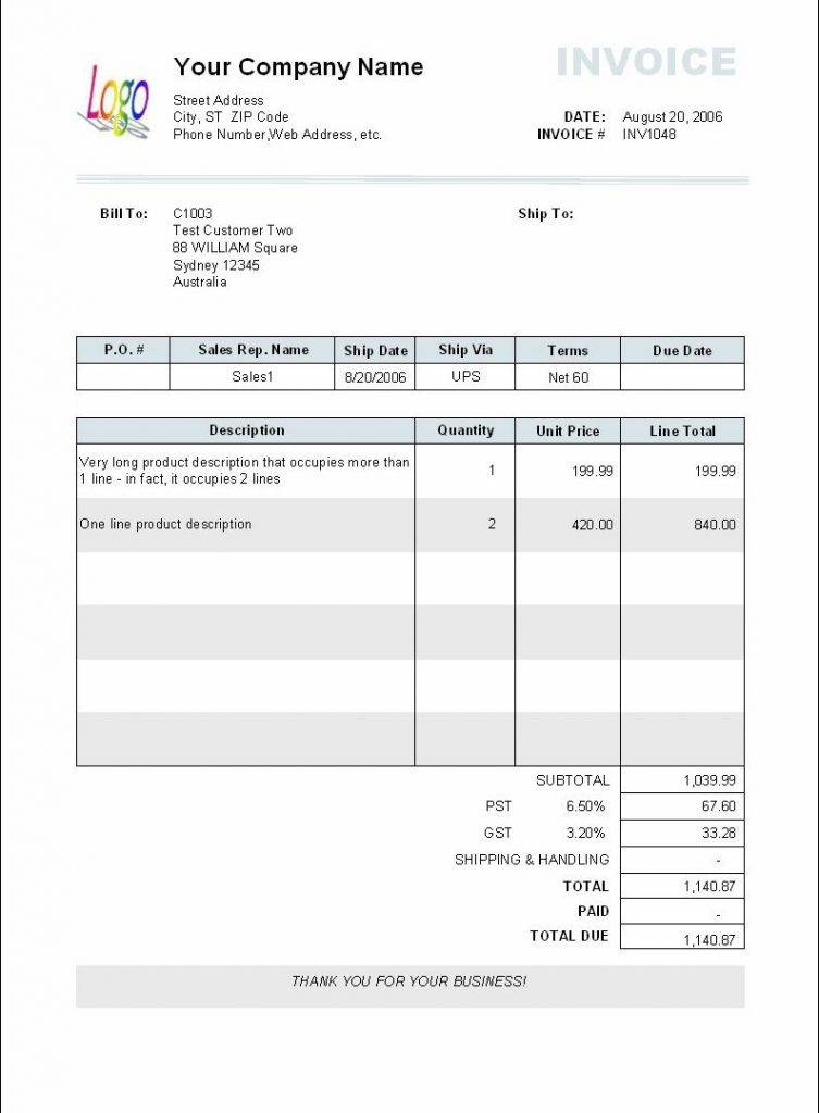 Mac Pages Invoice Template
