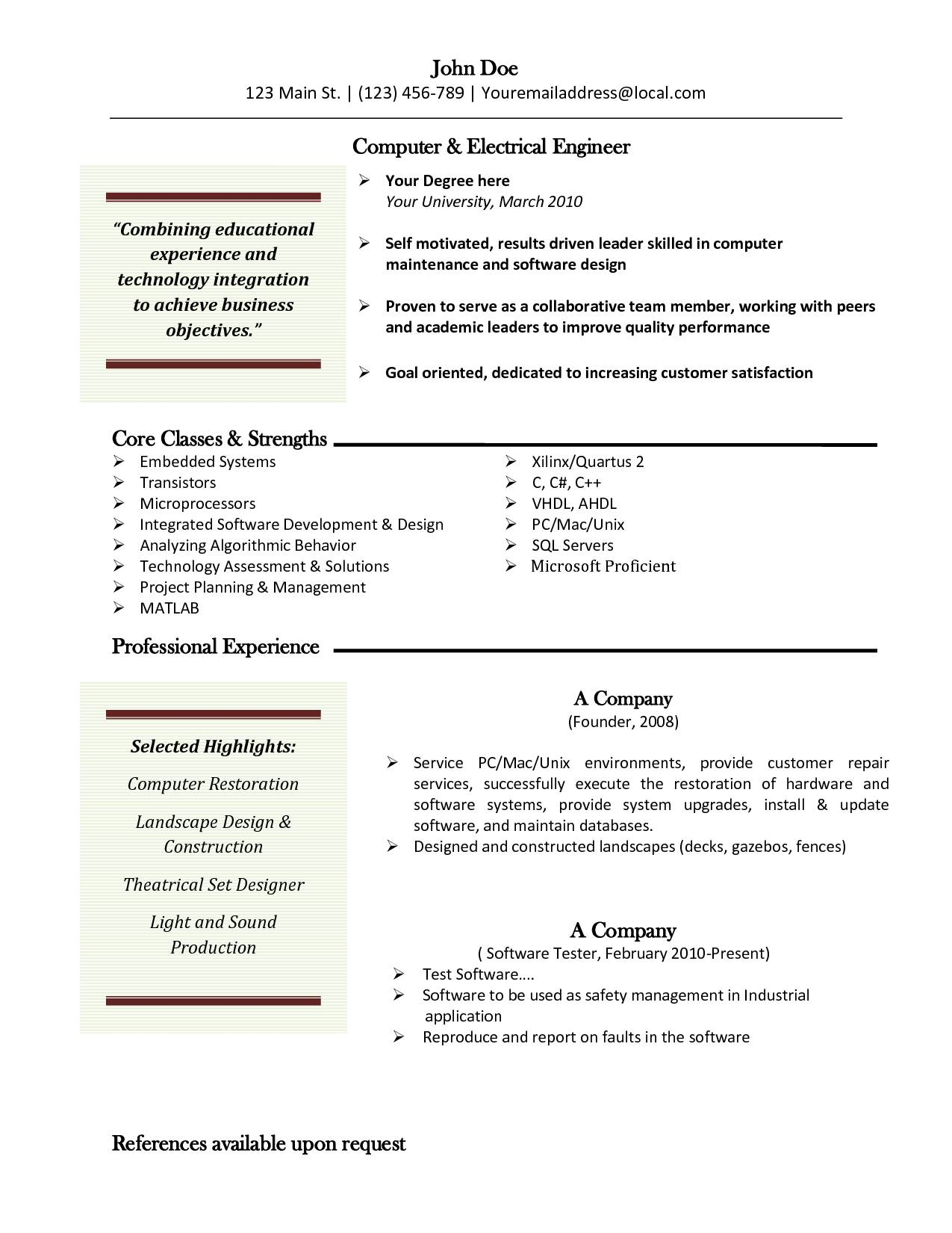 Mac Resume Templates Free
